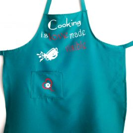 "Sort personalizat cu text haios ""Cooking is love made visible"""